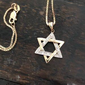 Jewelry - Diamond & Gold Star of David Necklace